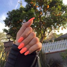 ♥ Orange nails for summer ♥ - Ongles 02 Gorgeous Nails, Love Nails, Fun Nails, Cute Nail Colors, Manicure Colors, Gel Manicure, Manicures, Vacation Nails, Cute Acrylic Nails