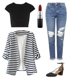 """""""Trendy stripes"""" by andreea-pug ❤ liked on Polyvore featuring Aquazzura, Topshop, Alice + Olivia, WithChic and MAC Cosmetics"""
