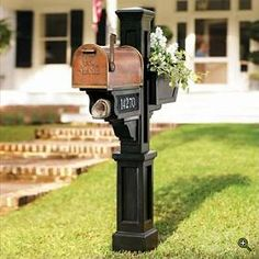Mailbox, Flower Box, and Newspaper Holder copper mailbox complete with newspaper holder and flower box .copper mailbox complete with newspaper holder and flower box . Outdoor Projects, Home Projects, Copper Mailbox, Brick Mailbox, Mailbox Makeover, Mailbox Landscaping, Landscaping Ideas, Garden Landscaping, Solis