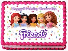 LEGO FRIENDS # 1 Edible image cake topper 1/4 sheet, 1/2 sheet, cupcakes and more sizes available