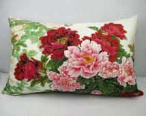 Rectangle velvet pillow cover peony pillow cover floral throw pillow peony cushion cover double sides printed design optional sizes