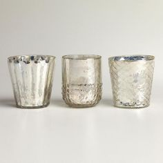One of my favorite discoveries at WorldMarket.com: Silver Mercury Glass Votive Candleholders, Set of 3
