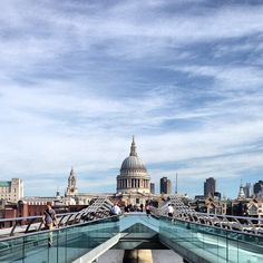 walk from south to north on this pedestrian bridge over the Thames.  with the Tate Modern at your back and St Paul's Cathedral in front of you.  any time of day - but at dusk  - you really feel like you're in the middle of London...