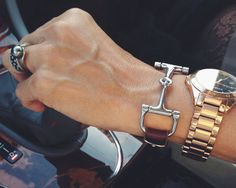 The result of four days of meticulous hand work, our iconic and gorgeous Horse Bit Snaffle Leather Bracelet is a show-stopping accessory that can be worn by both men and women. The horse bit is a signature classic and we incorporate it in many of our creations. Inspired by equestrian fashion and style, this luxury bracelet comes with a snaffle horse bit attached to a genuine leather strap and finished with an adjustable buckle in the back. We love horses, we love European style of leather…