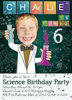 Science Birthday Party Invitation for boy or by SandyFordDesign