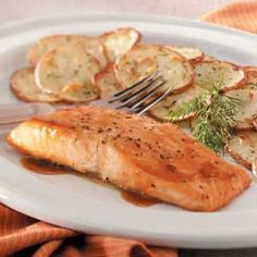 Brown Sugar-Glazed Salmon.    This is the recipe that changed the way I felt about salmon.  I give it *****