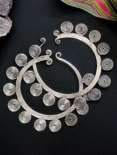 Hmong Tribal Jewelry Gauged Spiral Hoop Earrings