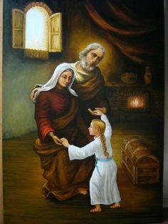 Maria nasceu em Nazaré de pais muito religiosos chamados Joaquim e Ana. Joaquim da estirpe de David (Lc 1, 32) e Ana da estirpe de Aarão (Lc 1,5; 1,36) mesmos sendo pequenos proprietários, eram de condições econômicas modestas, todavia eram ricos de santidade e de virtudes.