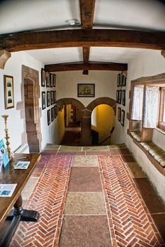 Herringbone brick and stone pavers as flooring, Lindisfarne Castle, Holy Island, Northumberland, England, Edwin Lutyens, 1903, for Henry Hudson.