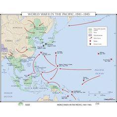 Universal Map World History Wall Maps - World War II in the Pacific World History, World War Ii, Ww2 History, Pacific Map, South Pacific, Today In History, Classroom Walls, Wall Maps, Pearl Harbor
