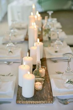 Candles on barn wood minimalism & romance in one - DIY Wedding Decoration Ideas. 20 Stunning Wedding Candlelight Decoration Ideas You Will Love. Venue, Table Decoration, Table Centrepiece and Party Venue Decoration Wedding Table Centerpieces, Wedding Decorations, Table Wedding, Centerpiece Ideas, Decor Wedding, Wedding Table Runners, Simple Wedding Table Decorations, Rustic Candle Centerpieces, White Party Decorations