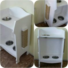 DIY pet station. Feed the cat without the dog getting into the food. Sharable water. Cat scratcher on the sides. Can also add hanging storage for organization :)