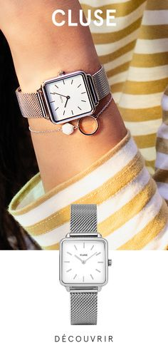 Christmas Outfits : La Tétragone Silver Mesh / White With its square case rounded at the corners and a sober and unadorned dial, La Garçonne plays on Androgynous Boy, Androgynous Fashion, Style Androgyne, Rose Gold Watches, Bracelet Cuir, Square, Classic Elegance, Mode Inspiration, Fashion Company