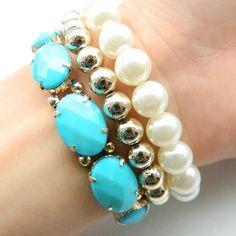 Fashion bracelet bundle New. Stretch bracelets. Light blue, gold and a pearl color. No trades. Jewelry Bracelets