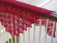 Evelyn A. Clark's pattern Flower Basket Lace Shawl & Scarf knit by Scarletknitter's using Harrisville Designs' Shetland yarn.
