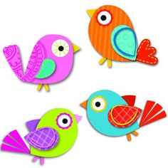 Express your sense of style by decorating your classroom with the contemporary Boho Birds assorted mini Colorful Cut-Outs(R). This multipurpose set features 36 bird cut-outs in a variety of colors tha Vbs Crafts, Bird Crafts, Preschool Crafts, Paper Crafts, Bird Paper Craft, Craft Activities, Art For Kids, Crafts For Kids, Arts And Crafts