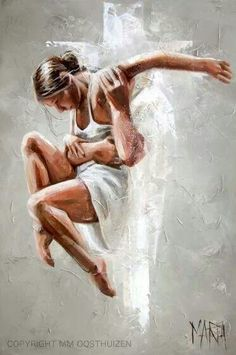 The Lord's embrace will lift me up❤️ Painting of Jesus holding a girl dancer up. Woman has on a white dress and there is a white Cross in the background. Worshiping the Lord Almighty. Beautiful painting. Please also visit www.JustForYouPropheticArt.com for colorful Prophetic Art you might like to pin. Thanks for looking! Blessings!