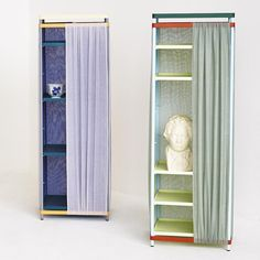 """""""The Pedestal cabinet"""" is a flat pack design with a simple steel frame and fabric walls. The five different colour combinations are inspired by five types of marble By halstromodgaard @designmuseumdanmark @chrisliljehal"""
