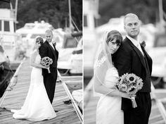 bride and groom portraits on the dock