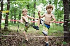 Tie rope between trees to create a fun obstacle course for the kids.
