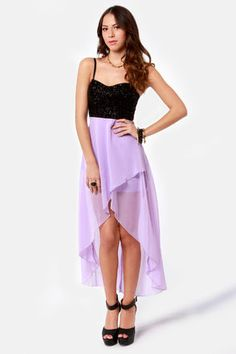 LuLu's Young Love Glitter High-Low Lavender Dress in Black, Black Glitter, and Lavender.  $59.00