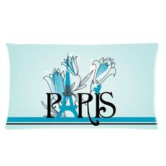 Vintage Paris Eiffel Tower Blue Floral Pattern Custom Rectangle Bedding Pillowcase Pillow Cover 20x36 (Twin sides) * Quickly view this special deal, click the image : Decorative Pillows