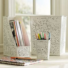 """Vintage Tin Desk Accessories 