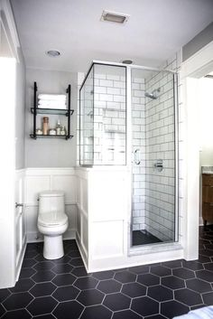 Small Bathroom with Shade Black and White Colors