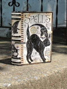 Vintage Paper Mache Halloween Witch's Book of SPELLS Box Painted Cat and Moon Hand Painted