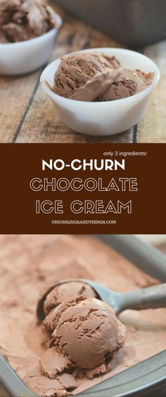No-churn Chocolate Ice cream made with only 3 ingredients and no ice cream maker needed. Creamy and with the most intense chocolate flavor, it's a must for summer! via @lalainespins