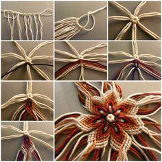 DIY No-Knit Weaving Flower of Yarn  https://www.facebook.com/icreativeideas