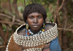 Africa | A Married Bana woman.  Ethiopia |  © Eric Lafforgue
