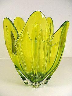 VINTAGE GREEN MURANO GLASS FIVE FINGER VASE BOWL