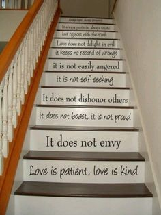 This was a post by Mardel Christian Store...love the idea. Wish I had stairs!