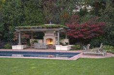 Interesting Pergola Kits For The Cozy House: Beautiful Pool Side Patio With Grey Pergola Grey Benches Outdoor Fireplace And The Table On The. Outdoor Pergola, Pergola Plans, Outdoor Rooms, Outdoor Living, Pergola Kits, Rustic Pergola, Wooden Pergola, Pergola Ideas, Gazebo