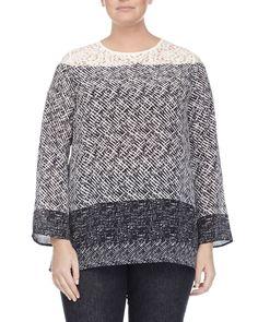Batavia Scarf-Print Silk Tunic Blouse, Women's, Size: 20W, Navy - Marina Rinaldi