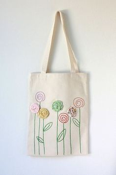 Embroidered Cotton Canvas Tote Bag with Fabric by TwoElephantsShop Best DIY Gift Ideas DIY mother's day 2017 Mother's Day in 2017 is on Sunday, the of May. Diy Sac, Personalized Tote Bags, Diy Tote Bag, Embroidery Bags, Cotton Bag, Cotton Canvas, Jute Bags, Mother's Day Diy, Cloth Bags