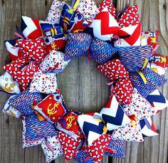 Anchor and Nautical Themed Fabric Wreath | SooBoo - Housewares on ArtFire