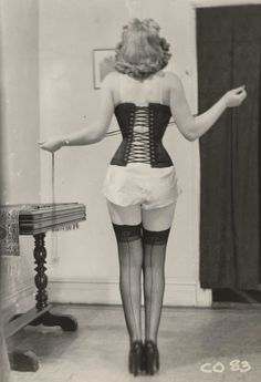 Vintage corset and stockings pinup