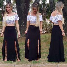 ✔️️️️conjunto Cropeed e saia longa compras pelo whats 18 997068527 enviamos para todo o Brasil #novidade#colecao#nova#vestido#vestidolongo#vestidosereia#vestidofenda#fendas#modinha#fitness#look#brasil