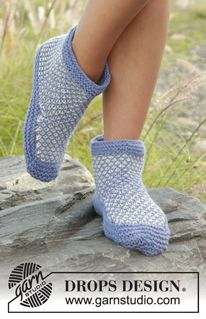 Knitted slipper with broken moss stitch and garter stitch in DROPS Nepal. Sizes 35 - Free pattern by DROPS Design. Crochet Socks Pattern, Knitting Patterns Free, Free Knitting, Crochet Patterns, Free Pattern, Drops Design, Magazine Drops, Nepal, Point Mousse