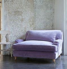 Over-sized lavender velvet chair