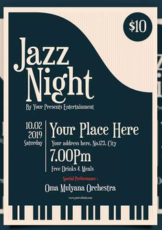 Jazz Night Flyer by badastarad on Envato Elements Event Poster Template, Event Poster Design, Graphic Design Posters, Flyer Template, Poster Designs, Jazz Concert, Concert Flyer, Concert Posters, Event Posters