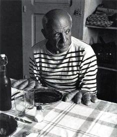 The Breton striped shirt came into being following the 27th March, 1858 Act of France which introduced the navy and white striped knitted shirt as the uniform for all French navy seaman. This one worn by Pablo Picasso.
