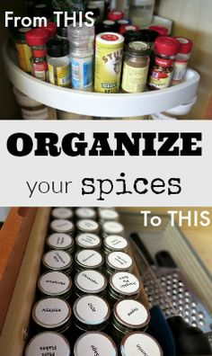 Declutter your spices and organize for easy access!