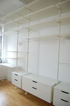 Stolmen Ikea for wall fixtures / fittings. Closet Drawers, Closet Storage, Bedroom Storage, Wardrobe Storage, Ikea Drawers, Bedroom Shelves, Ikea Shelves, Small Shelves, Master Bedroom Closet