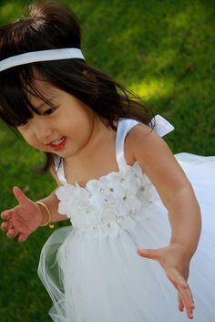 Angelic Flower Girl Tutu Dress--Wedding Collection .Birthday .. $69.99, via Etsy. @Alissa this is what I want for Keira