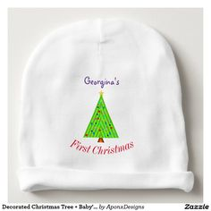 Shop Decorated Christmas Tree + Baby's First Christmas Baby Beanie created by AponxDesigns. Babies First Christmas, Christmas Baby, Consumer Products, Cotton Thread, Christmas Tree Decorations, Little Ones, Infant, Pregnancy, Beanie