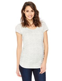 Geo Print Side Ruched Maternity Tee