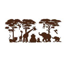 safari animal silhouette scene graphic